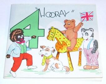 1950's Golliwog Teddy Bear Birthday Card 4th Birthday