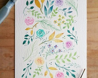 Floral Watercolour Hand Painted Pattern