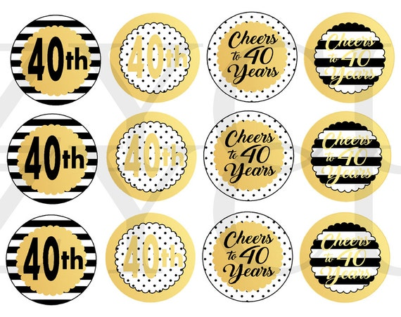 Cheers To 40 Years Cupcake Toppers Printable Cupcake