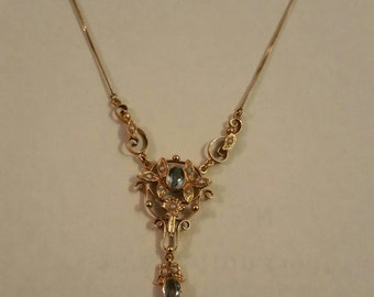 Edwardian 14 kt aquamarine and seed pearl drop necklace