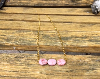 Gold & Pink Marble Necklace