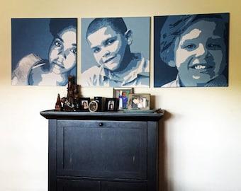 Painted Monochrome Pop Art Portraits on Canvas