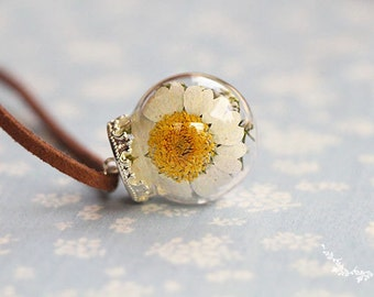 Leather Dried Flower Pendant Necklace Sterling Silver Plated | Dry Flowers Pendant Necklace | Botanical Necklace | Great Gifts For Her