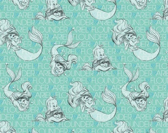 KNIT fabric- Disney Fabric- Princess Ariel Sketches Little Mermaid Fabric From Springs Creative