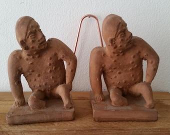 Pre-columbian terracotta replica sitting male sculptures/ mini book-ends