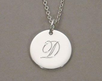 Personalized sterling silver initial necklace engraved circle disc pendant letter D 1/2 inch round charm SDLCS-Ornate