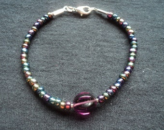 "Iridescent Glass Bead Bracelet 7"""
