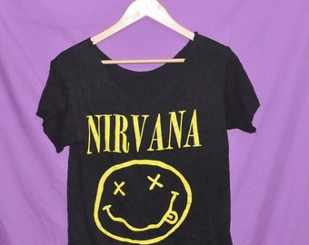 Vintage 1990s Band NIRVANA Nevermind Smiley Stoned Face Kurt Cobain Grunge Small Cut Off T-Shirt