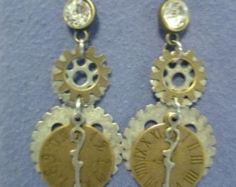 Steampunk style clock & gear earrings
