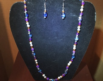 Silver, Blue, Purple, Orange Necklace and Earring Set