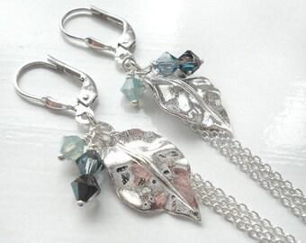 Silver Leaves Earrings - OOAK