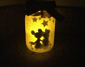 Mickey and Minnie under the stars glow shadow