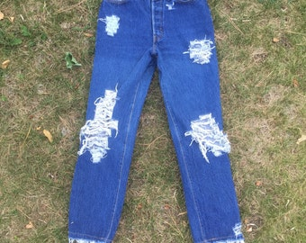 Vintage High Waisted Distressed Jeans
