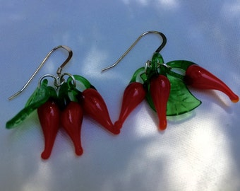 Red Chili Peppers Glass Earrings on Sterling Silver Wires