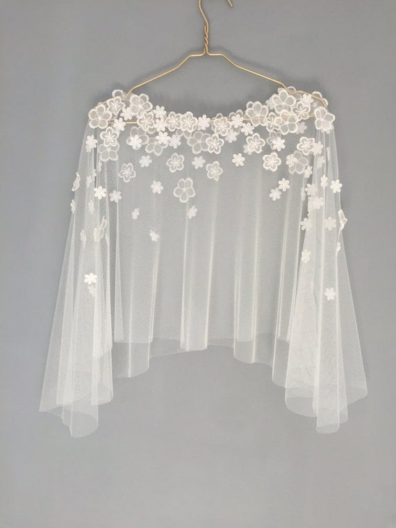 Bridal capelet bridal cover up lace cover up wedding for Cover up wedding dress
