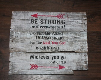 Rustic Wood Wall Decor Joshua 1:9