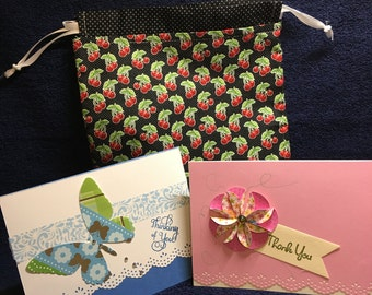 cards and reusable bag