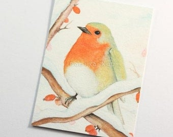 ACEO Print, Bird Artwork, Beautiful ATC Print, European Robin Birds, Watercolor, Limited Edition Giclee Print, Wildlife Fine Art