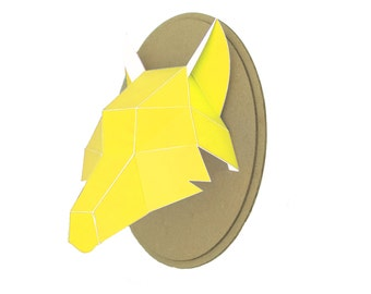 Trophy paper - Wolf head - yellow