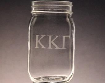 Kappa Kappa Gamma | Mason Jar Etched KKG Mason Jar 16oz Mason Jars