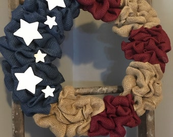 Americana, Wreath, Red White and Blue