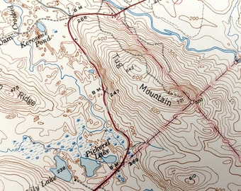 Antique Tug Mountain, Maine 1927 US Geological Survey Topographic Map