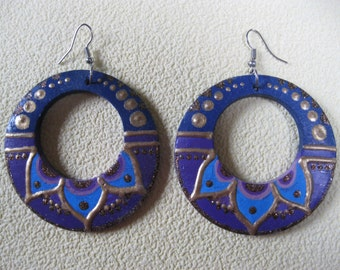 Blue painted earrings