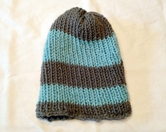 Blue and gray knit beanie