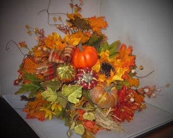 Fall Silk Floral Cornucopia Horn of Plenty Centerpiece