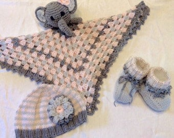 Pink Elephant Baby Hat and Booties Set (Elephant Lovey Sold Separately)
