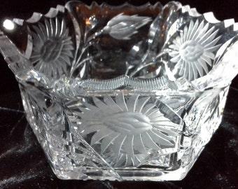"Small six-sided cut crystal bowl 4.5"" across, 2"" deep"