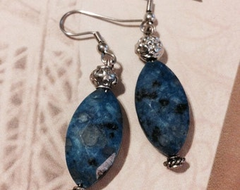 Blue stone dangle earrings