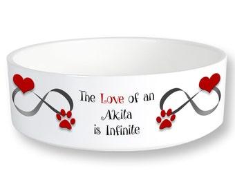 Akita Infinite Love Dog Bowl 6 inch Diameter Printed Both Sides