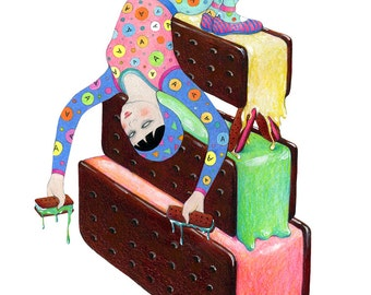 Ice Cream Circus 2 - Sweet Tooth,Art,Drawing, Archival print
