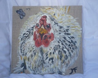 acrylic painting on cardboard entoile hen