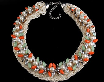 CHINA ROSE Tangerine and Pearl Beaded Necklace #400