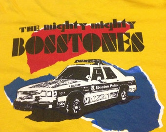 Free shipping!!! Vintage Deadstock The Mighty Mighty Bosstones 90s Yellow Boston Police Car T-Shirt XLarge Double Side Ska Punk Rock Shirt
