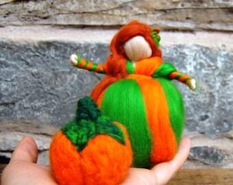 pumpkin pixie kit, felted pumpkin, flower child pumpkin elf, nature table doll fall felted elf, Christmas pumpkin orange wool doll Jade shen