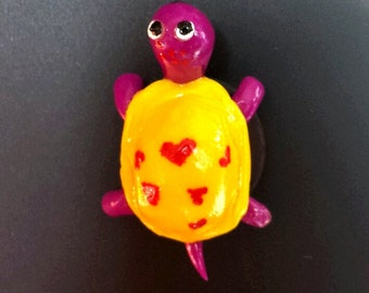 Tiny Purple Turtle Magnet with Yellow Shell/Heart Design