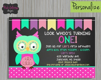 Owl First Birthday, Owl First Birthday Invite, Owl Invite, Owl Invitation, Look Whoo's Turning 1, First Birthday, Owl Birthday, DIGITAL FILE