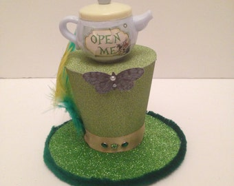 Mad Hatter Alice in wonderland Green Mini Top Hat Fancy Dress Halloween