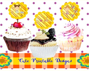 Printable Cupcake Toppers, Cupcake Toppers Fairy, Birthday Party, Printable Típicas, CUPCAKETOPP-POPPHADA-70