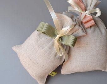 Linen bag wedding favor box-raw-Green Ribbon-wedding favors