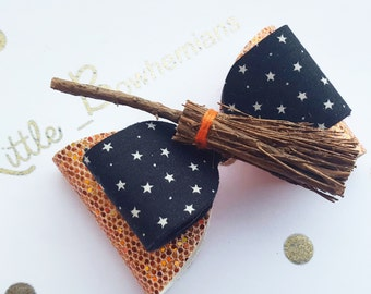 Halloween witches broom bow girls sparkle bow