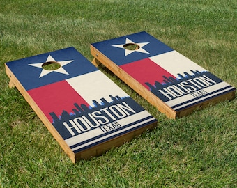 Houston State Flag Skyline Cornhole Board Set