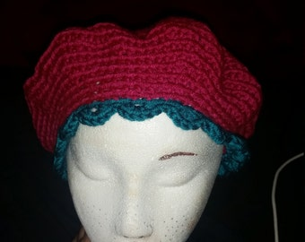 Dark Teal and Magenta Slouch hat