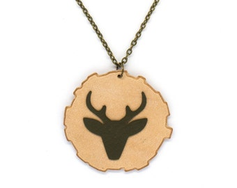 "Necklace leather deer head ""bichette"" khaki and natural handmade"