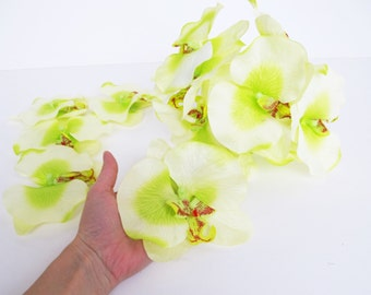 "12 Artificial Silk Orchids Flowers Soft Green White Orchids Measuring 5.7"" Floral Hair Accessories Flower Supplies Faux Fabric Wedding"
