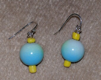 Blue ball earrings