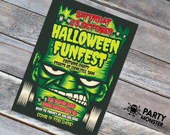 Halloween Invitation, Halloween Party, Costume Party, Frankenstein, Halloween Fest, DIY, Halloween invite, Halloween Frankenstein